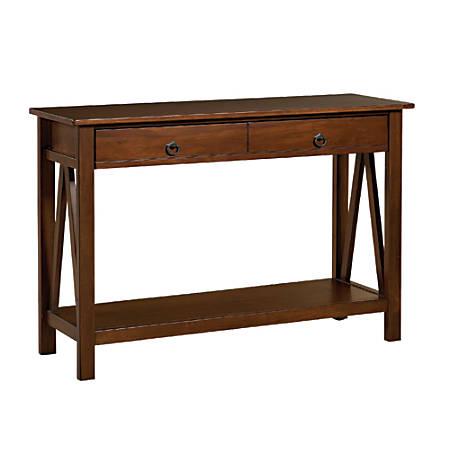 Linon Home Decor Titian Console Table, Rectangle, Antique Tobacco