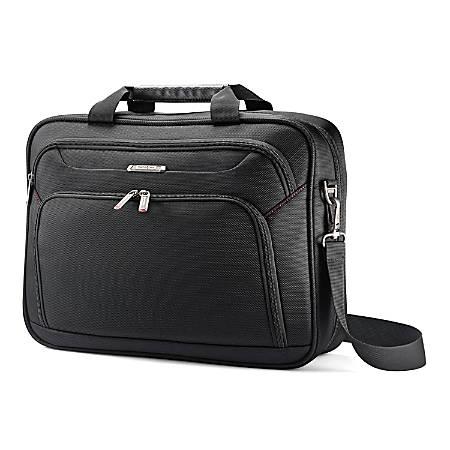 "Samsonite® Xenon 3 Polyester Techlocker Briefcase, 16 1/2""H x 12 3/4""W x 4""D, Black"