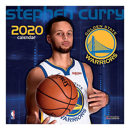 """Turner Licensing Monthly Wall Calendar, 12"""" x 12"""", Stephen Curry, 2020"""