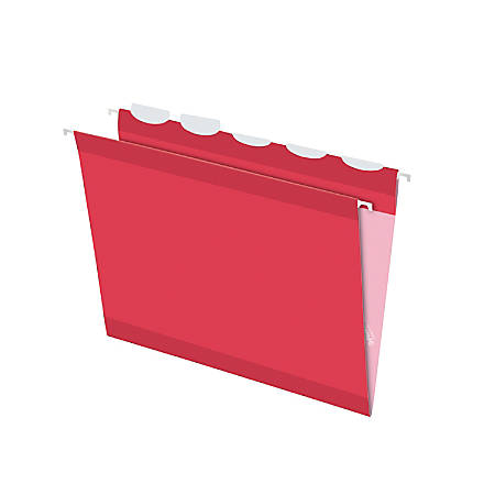 Pendaflex® Ready-Tab™ Reinforced Hanging Folders, With Lift Tab Technology, 1/5 Cut, Letter Size, Red, Pack Of 25