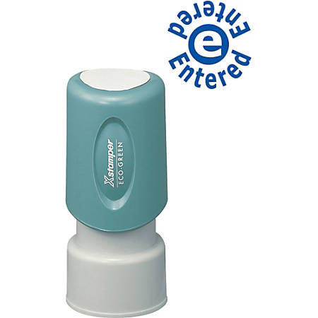 """Xstamper Blue Ink ENTERED Title Stamp - Message Stamp - """"ENTERED"""" - 0.63"""" Impression Diameter - 100000 Impression(s) - Blue - Plastic Cap - Recycled - 1 Each"""