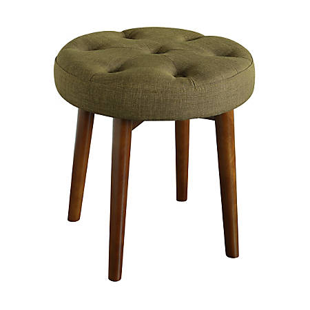 Elle Décor Penelope Round Tufted Stool, Key Lime/Brown