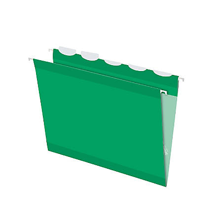 Pendaflex® Ready-Tab™ Reinforced Hanging Folders, With Lift Tab Technology, 1/5 Cut, Letter Size, Bright Green, Pack Of 25