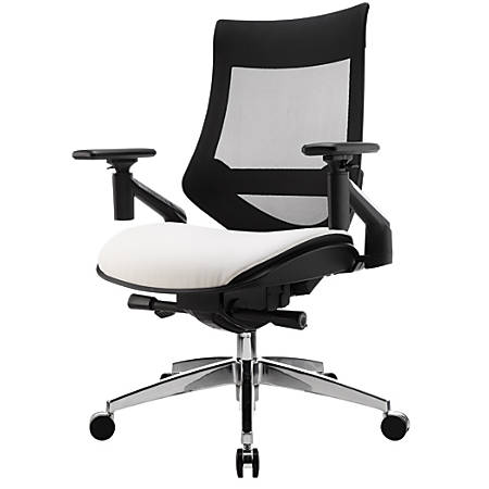 WorkPro® 1500 Series Bonded Leather Mid-Back Multifunction Chair, Black/White