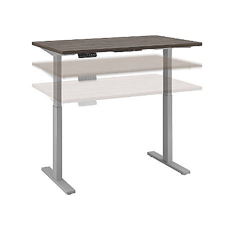 "Bush Business Furniture Move 60 Series 48""W x 30""D Height Adjustable Standing Desk, Cocoa/Cool Gray Metallic, Premium Installation"
