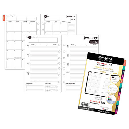 "AT-A-GLANCE® Harmony Weekly/Monthly Planner Refill, 5 1/2"" x 8 1/2"", January to December 2019"