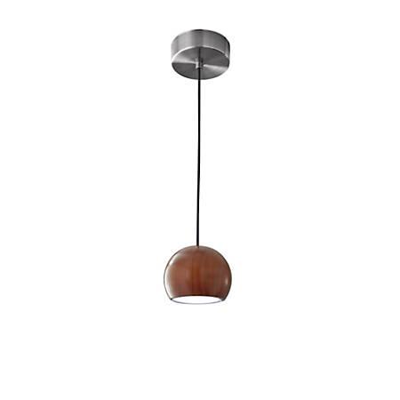 "Adesso® Cypress Hanging Pendant Lamp, Round, 48""H, Walnut Pendant/Brushed Steel Base"