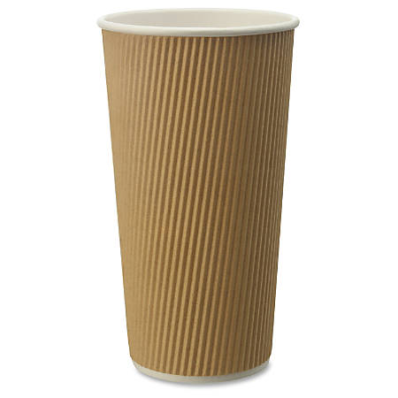 Genuine Joe Ripple Hot Cups - 25 - 20 fl oz - 500 / Carton - Brown - Hot Drink, Beverage
