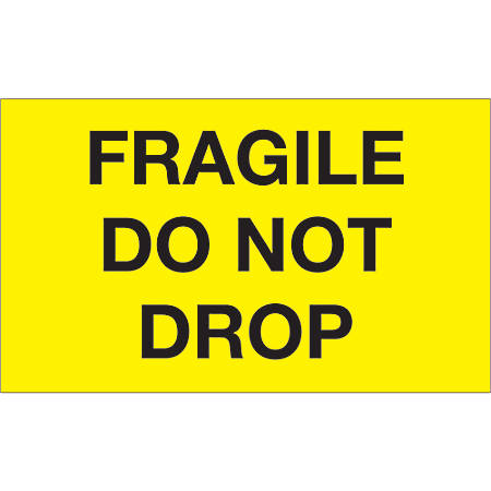 "Tape Logic® Preprinted Special Handling Labels, DL1198, Fragile Do Not Drop, Rectangle, 3"" x 5"", Fluorescent Yellow, Roll Of 500"