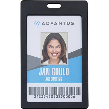 Advantus Vertical Rigid ID Badge Holder - Vertical - Plastic - 6 / Pack - Black
