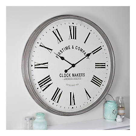 FirsTime & Co.® Paramount Wall Clock, Aged Gray/Cream