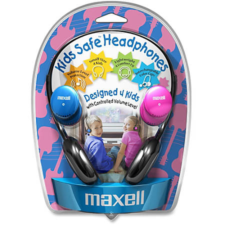 Maxell Kids Safe Headphones - Stereo - Mini-phone - Wired - 32 Ohm - 14 Hz 20 kHz - Over-the-head - Binaural - Semi-open - 4 ft Cable