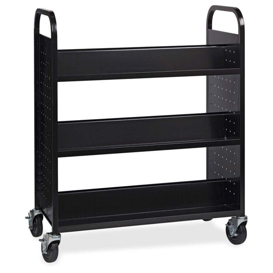 Lorell Double Sided Book Cart 6 Shelf Round Handle 5 Caster Size Steel 38  Width X 18 Depth X 46.3 Height Black By Office Depot U0026 OfficeMax