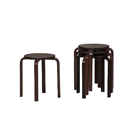 Linon Home Décor Products Bentwood Stacking Stools, Wenge, Set Of 4