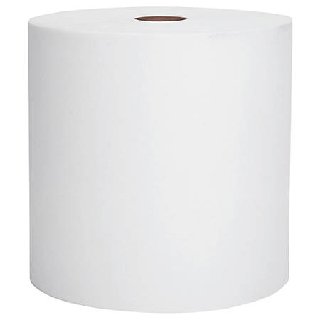 """Scott® High-Capacity 1-Ply Hard Roll Paper Towels, 1 1/2"""" Core, 8"""" x 1,000', White, Case Of 12 Rolls"""