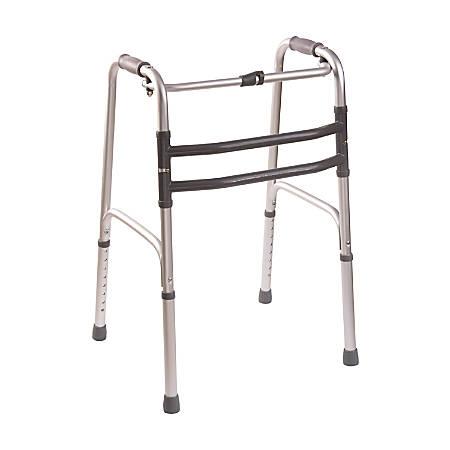 "DMI® Single-Release Adjustable Aluminum Folding Walkers, 38"" x 22"", Silver, Pack Of 2"