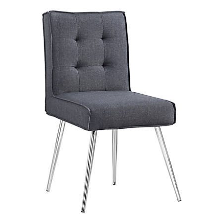 Linon Phenix Chairs, Gray/Chrome, Set Of 2 Chairs