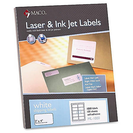 "MACO® White Laser/Ink Jet Shipping Labels, MML-1000, 2""W x 4""L, Rectangle, White, 10 Per Sheet, Box Of 1,000"