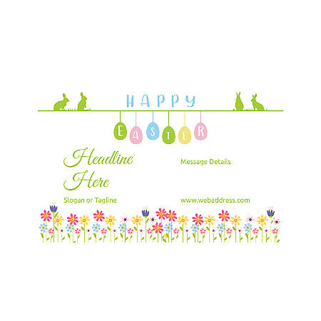 Adhesive Sign, Horizontal, Happy Easter