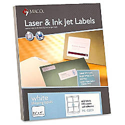 MACO White LaserInk Jet Shipping Labels