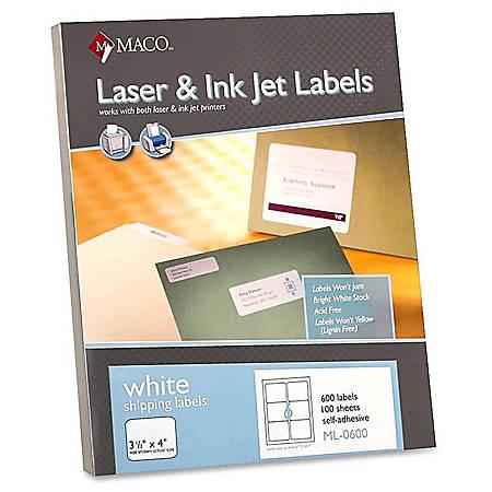 "MACO® White Laser/Ink Jet Shipping Labels, ML-0600, 3 21/64""W x 4""L, Rectangle, White, 6 Per Sheet, Box Of 600"