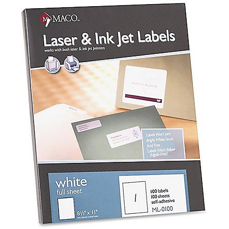 "MACO® White Laser/Ink Jet Full Sheet Labels, MML-0100, 8 1/2""W x 11""L, Rectangle, White, Box Of 100"