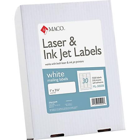 "MACO® White Laser/Ink Jet Address Labels, ML-3000B, Permanent Adhesive, 1""W x 2 5/8""L, Rectangle, White - 30 Per Sheet, Box Of 7,500"