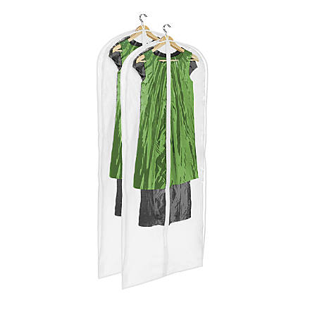 "Honey-Can-Do Hanging Dress Bags, 48"" x 24"", Clear/White, Pack Of 2"