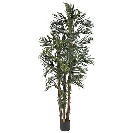 Nearly Natural 6'H Silk Robellini Palm Tree With Pot, Green