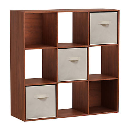 Homestar North America 9-Cube Bookcase With Bins, Cherry