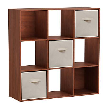 Homestar North America 9-Cube Bookcase With Bins, Cherry