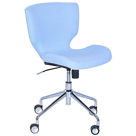 Elle Décor Madeline Hourglass Mid-Back Task Chair, Pastel Blue/Chrome