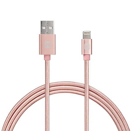iHome Nylon Aluminum Lightning Cable, 10', Rose Gold