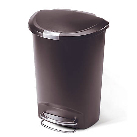 simplehuman Semi-Round Plastic Step Trash Can, 13.2 Gallons, Mocha