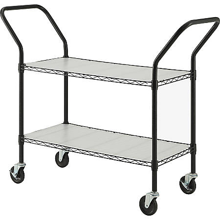 Lorell® Mobile Double Handle Wire File Cart, Black