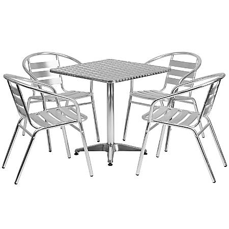 """Flash Furniture Square Aluminum Indoor-Outdoor Table with 4 Slat-Back Chairs, 27-1/2""""H x 27-1/2""""W x 27-1/2""""D, Aluminum"""