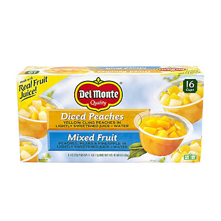 Del Monte Diced Peaches And Mixed Fruit Cups, 4 Oz, Pack Of 16 Cups