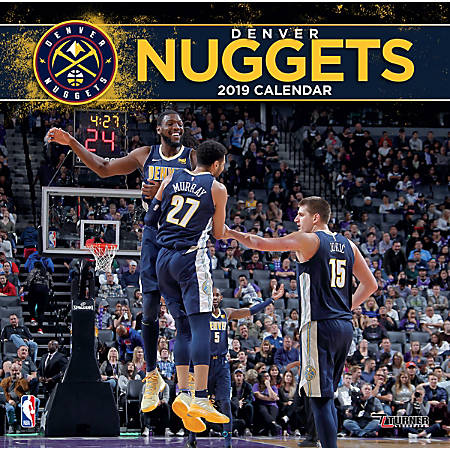 """Turner Sports Monthly Wall Calendar, 12"""" x 12"""", Denver Nuggets, January to December 2019"""
