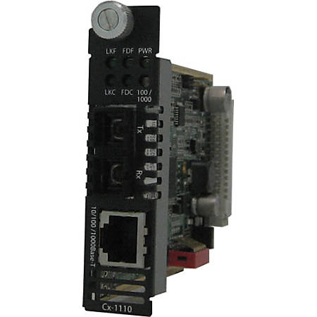 Perle C-1110-S2SC160 Gigabit Ethernet Media Converter - 1 x Network (RJ-45) - 1 x SC Ports - 10/100/1000Base-T, 1000Base-ZX - Internal