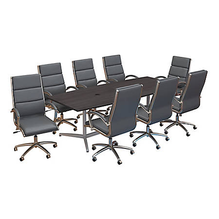 "Bush Business Furniture 96""W x 42""D Boat Shaped Conference Table with Metal Base and Set of 8 High Back Office Chairs, Storm Gray, Standard Delivery"