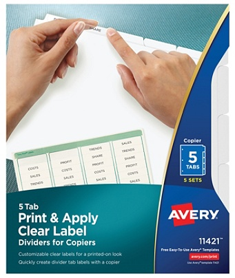 avery print and apply clear label dividers with index maker easy