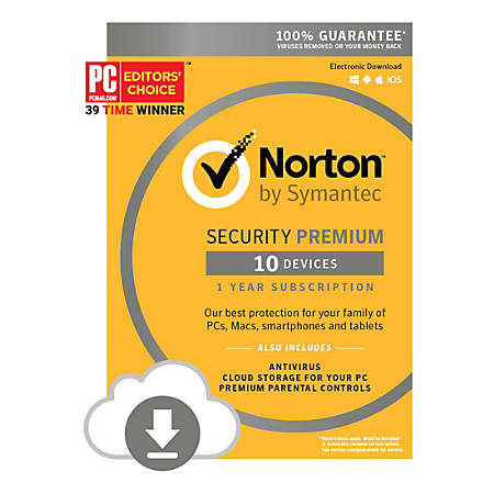 Norton™ Security Premium, For 10 Devices, 1-Year Subscription, Download  Version Item # 995915