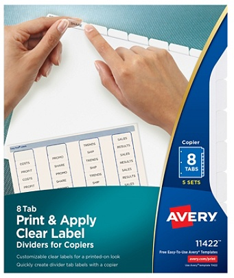 Avery® Print & Apply Clear Label Dividers With Index Maker® Easy Apply™  Printable Label Strip for Copiers, 8-Tab, White, Pack of 5 Sets Item #  995928