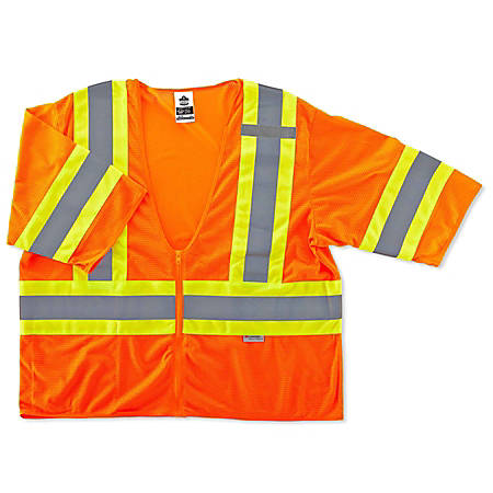 Ergodyne GloWear Safety Vest, 2-Tone, Type-R Class 3, Large/X-Large, Orange, 8330Z