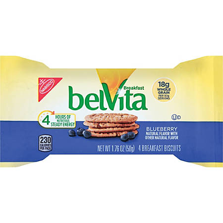 belVita Breakfast Biscuits - Individually Wrapped, Hydrogenated Oil-free, Sweetener-free - Blueberry - 1.76 oz - 8 / Box