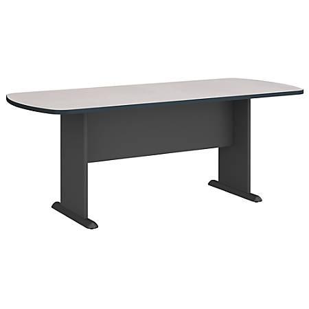 "Bush Business Furniture 79""W x 34""D Racetrack Oval Conference Table, Slate/Graphite Gray, Premium Installation"