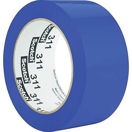 "Scotch Color Box Sealing Tape 311 - 2"" Width x 110 yd Length - 3"" Core - Acrylic - Polypropylene Film Backing - Lightweight, UV Resistant, Medium Duty - 1 Roll - Blue"
