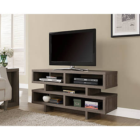 """Monarch Specialties Open-Concept TV Stand For Flat-Screen TVs Up To 48"""", Dark Taupe"""