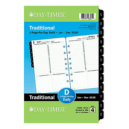 """Day-Timer® Classic Daily Refill, Desk Size, 5-1/2"""" x 8-1/2"""", January To December 2020, 120102001"""
