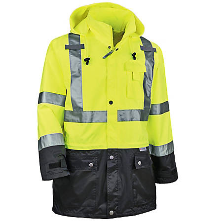 Ergodyne GloWear 8365BK Type-R Class 3 Rain Jacket, Medium, Black/Lime